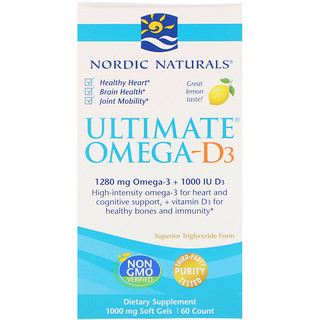 Nordic Naturals, Ultimate Omega-D3, Lemon, 1000 mg, 60 Soft Gels
