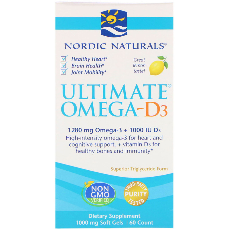 Ultimate Omega-D3, Lemon, 1000 mg, 60 Soft Gels