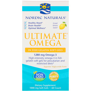 Nordic Naturals, Ultimate Omega, Lemon, 1,000 mg, 60 Soft Gels