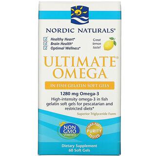 Nordic Naturals, Ultimate Omega, Lemon, 1,280 mg, 60 Soft Gels