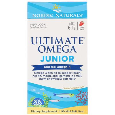 Ultimate Omega Junior, Strawberry, 680 mg, 90 Mini Soft Gels