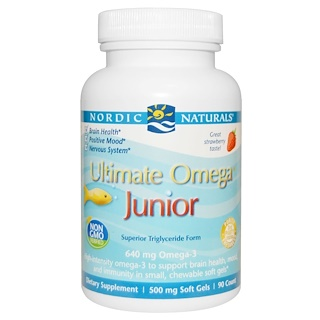 Nordic Naturals, Ultimate Omega, Junior, 500 mg, 90 Chewable Soft Gels