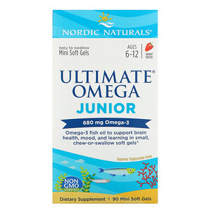 нордик Натуралс, Ultimate Omega Junior,  Ages 6-12, Strawberry, 680 mg, 90 Mini Soft Gels отзывы покупателей