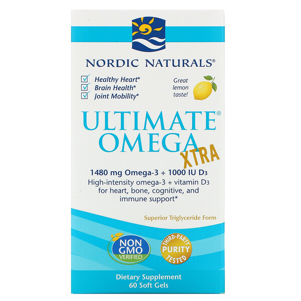 Nordic Naturals, Ultimate Omega Xtra, Lemon, 1,480 mg, 60 Soft Gels
