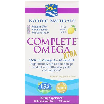 Complete Omega Xtra со вкусом лимона, 1000 мг, 60 мягких желатиновых капсул efagold мега дгк 1000 мг 60 мягких желатиновых капсул