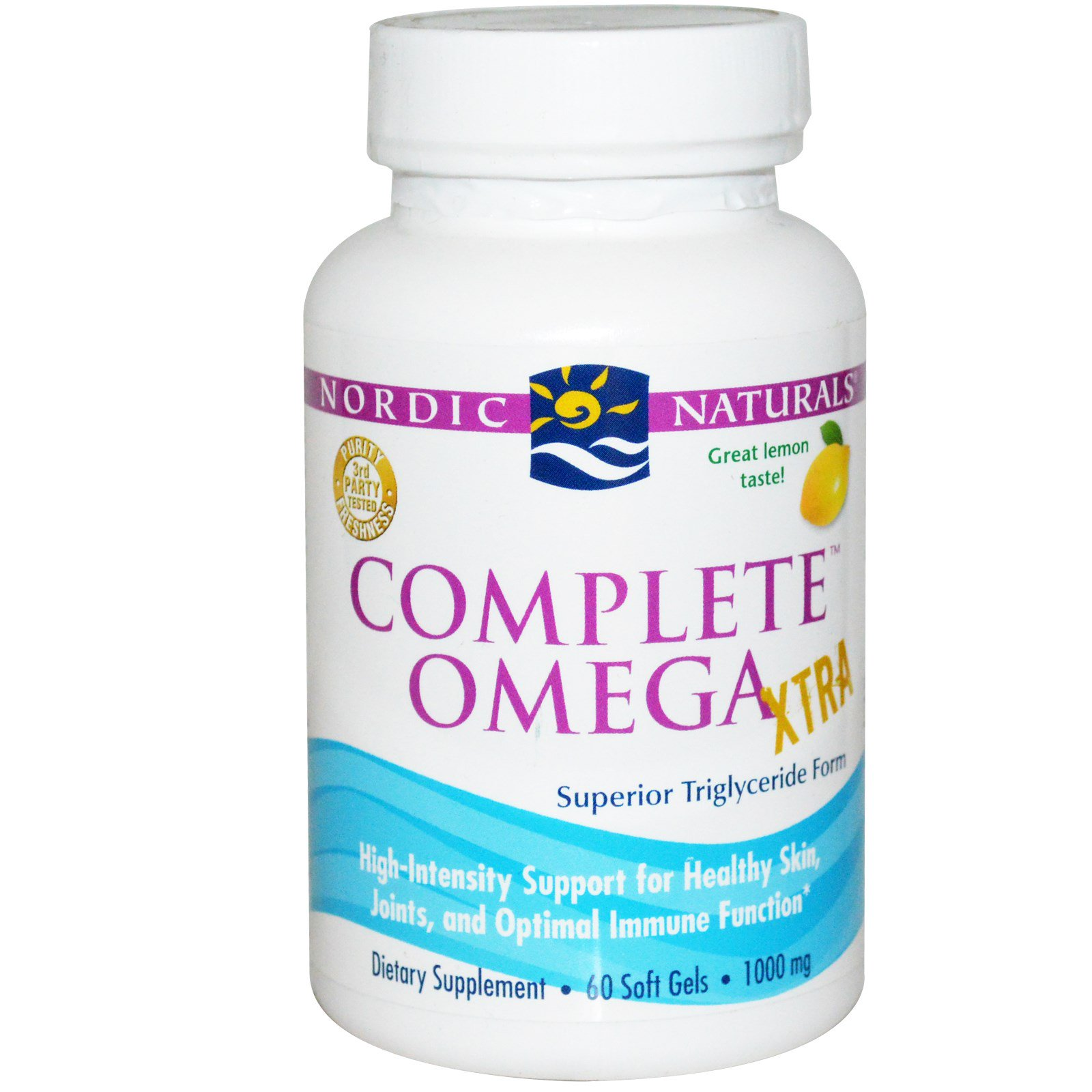 Nordic Naturals, Complete Omega Xtra, со вкусом лимона, 1000 мг, 60 гелевых капсул