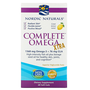 нордик Натуралс, Complete Omega Xtra, Lemon, 1,000 mg, 60 Soft Gels отзывы покупателей