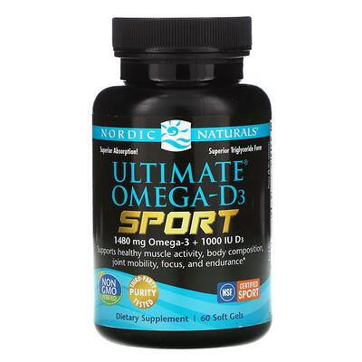 Купить Nordic Naturals Ultimate Omega-D3 Sport, 1000 мг, 60 мягких желатиновых капсул
