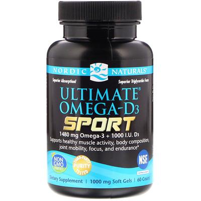 Ultimate Omega-D3 Sport, 1000 мг, 60 мягких желатиновых капсул efagold мега дгк 1000 мг 60 мягких желатиновых капсул