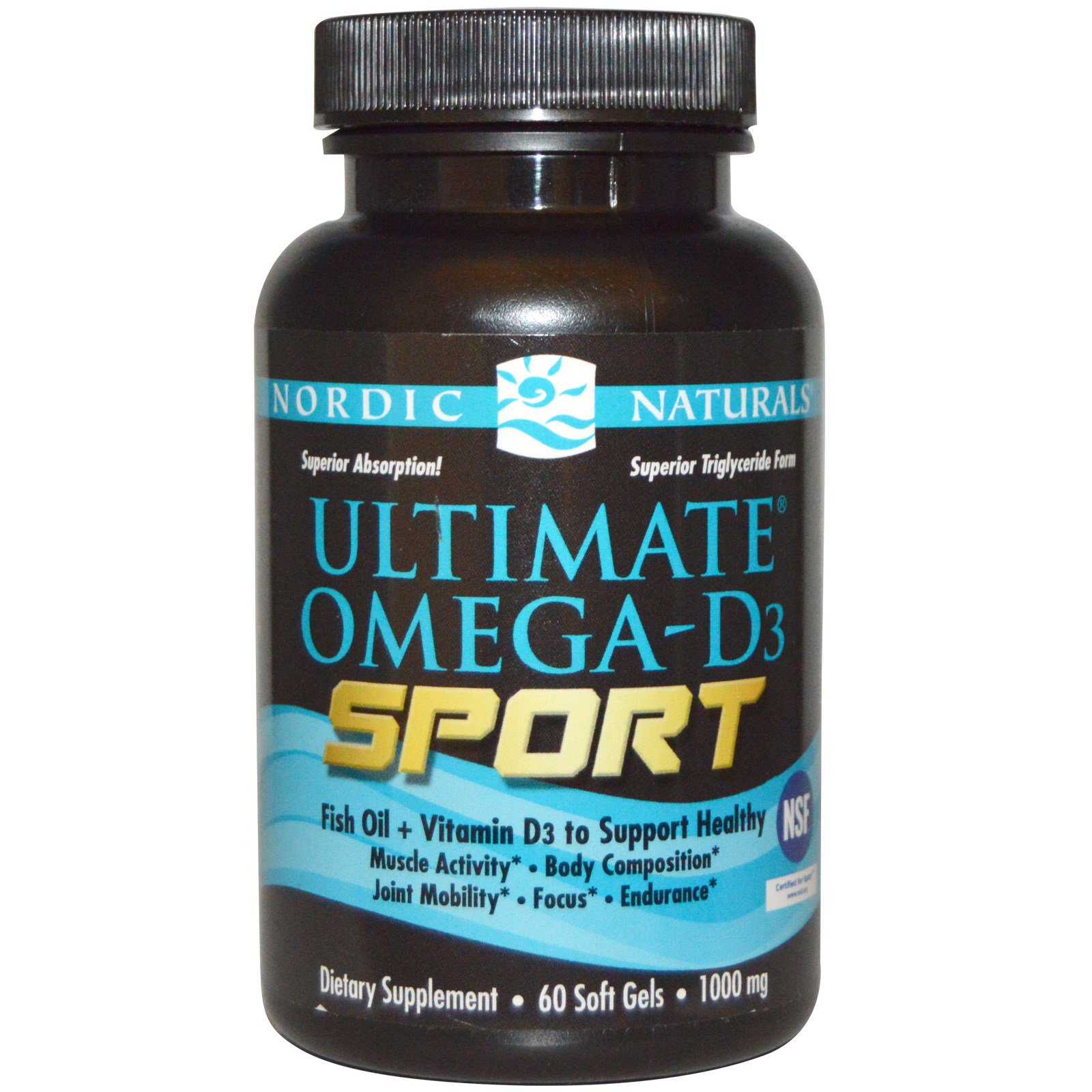 Nordic Naturals, Ultimate Omega-D3 Sport, 1000 мг, 60 мягких капсул