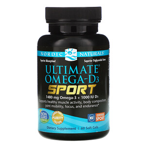 нордик Натуралс, Ultimate Omega-D3 Sport, 1,000 mg, 60 Soft Gels отзывы покупателей