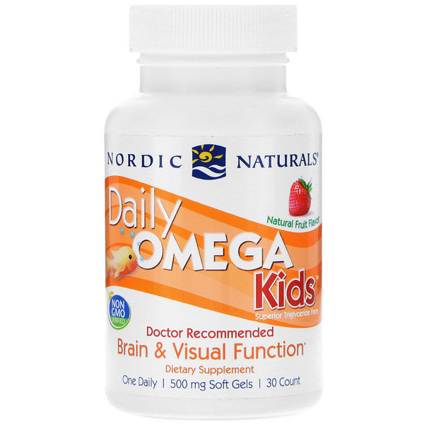 Daily Omega Kids, Natural Fruit Flavor, 500 mg, 30 Soft Gels
