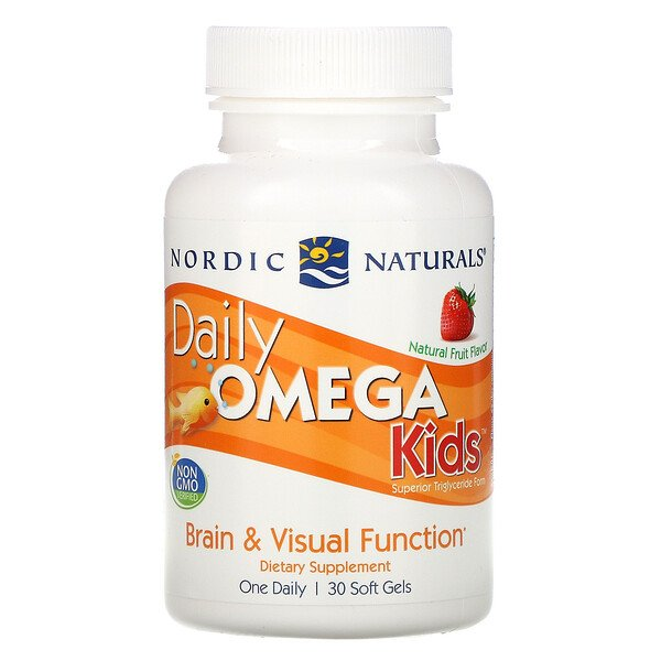 Daily Omega Kids, Natural Fruit Flavor, 500 mg, 30 Chewable كبسولات هلامية لينة