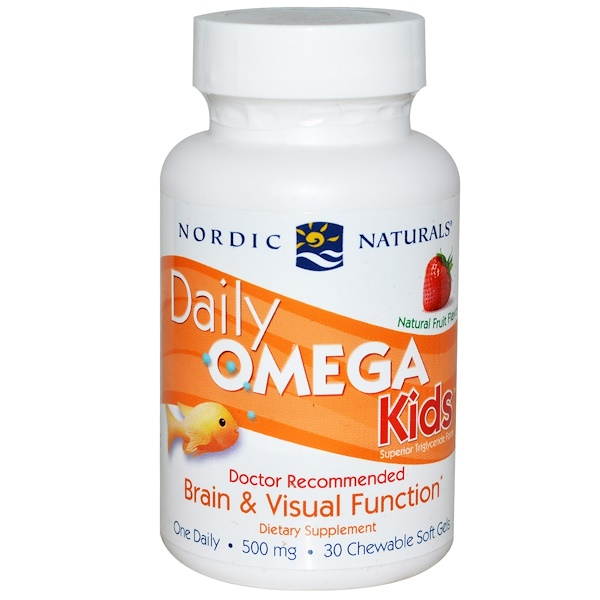 Nordic Naturals, Daily Omega Kids, Natural Fruit Flavor, 500 mg, 30 Chewable Soft Gels
