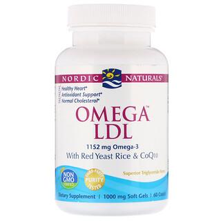Nordic Naturals, Омега LDL, с красным дрожжевым рисом и коферментом Q10, 1000 мг, 60 мягких капсул