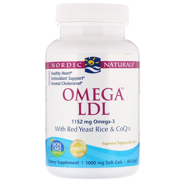 Nordic Naturals, Омега LDL, с красным дрожжевым рисом и коферментом Q10, 1000 мг, 60 мягких капсул (Discontinued Item)