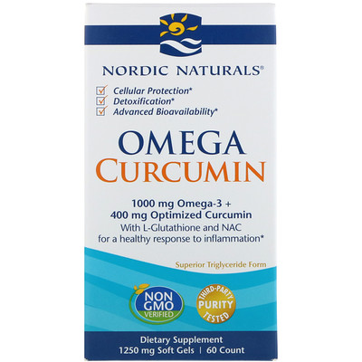 Купить Омега куркумин, 1250 мг, 60 мягких таблеток