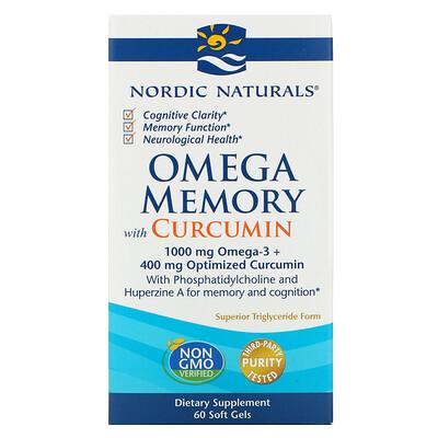 Купить Nordic Naturals Omega Memory с куркумином, 1000 мг, 60 мягких желатиновых капсул