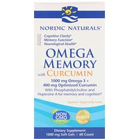 Omega Memory with Curcumin, 1000 mg, 60 Soft Gels - фото