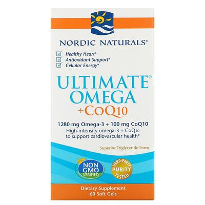 Купить Nordic Naturals Ultimate Omega + CoQ10, 1280мг, 60капсул