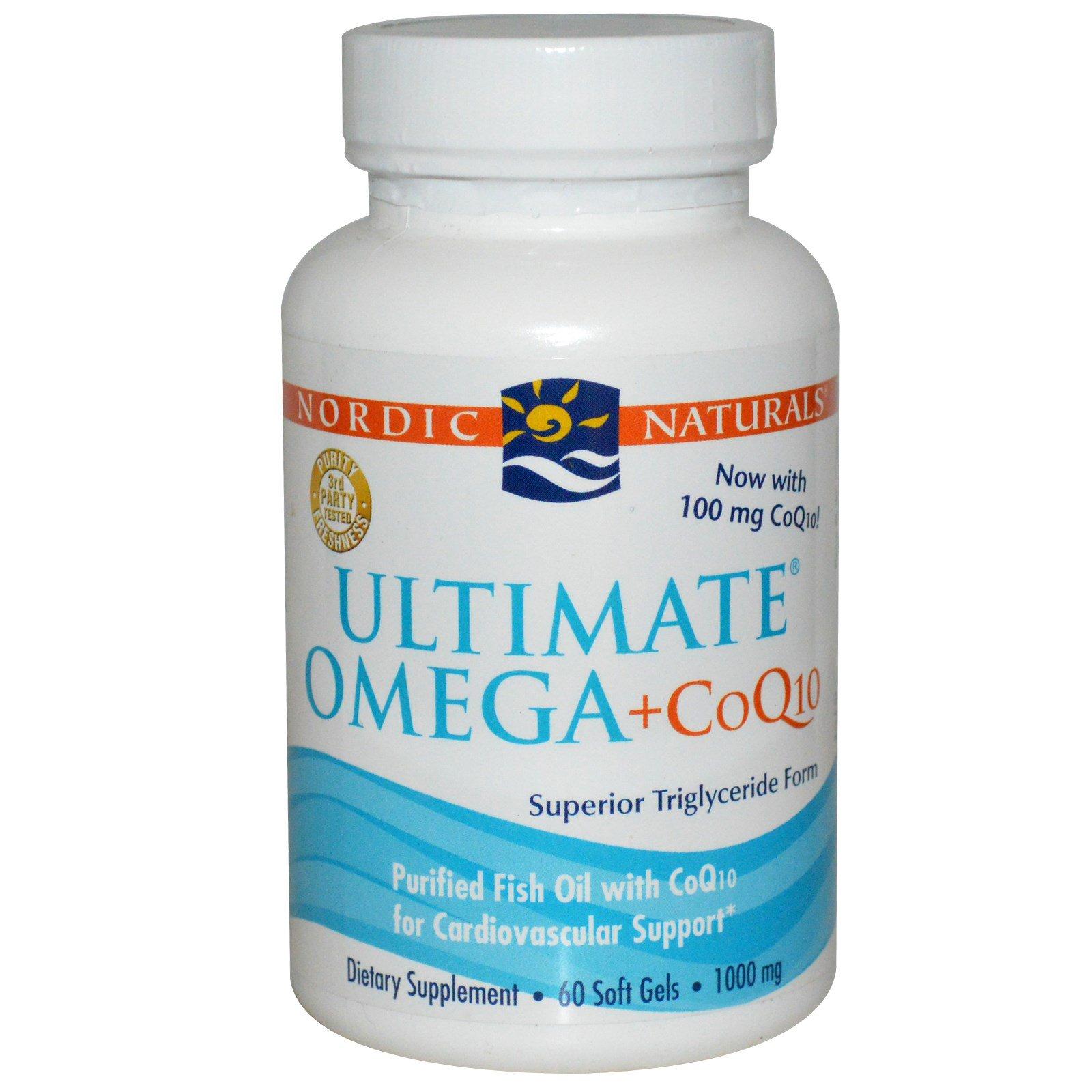 Nordic Naturals, Ultimate Omega + CoQ10, 1000 мг, 60 жевательных капсул