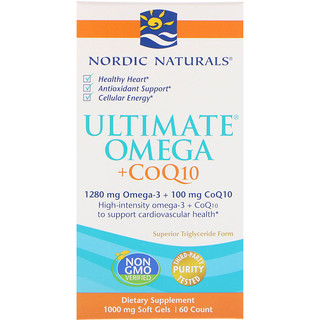 Nordic Naturals, Ultimate Omega + CoQ10, 1000 mg, 60 Soft Gels