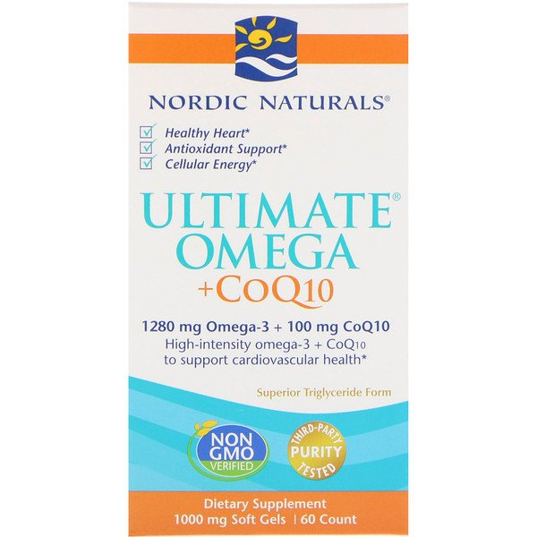 Ultimate Omega + CoQ10, 1000 mg, 60 Soft Gels