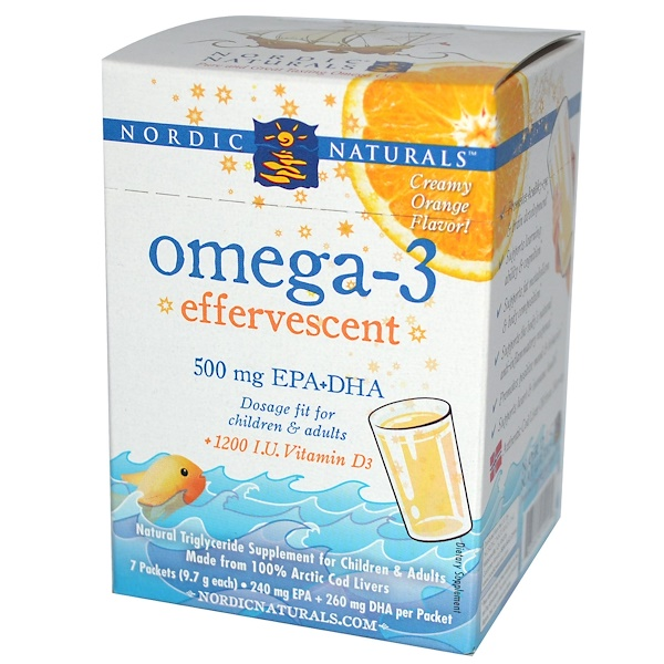 Nordic Naturals, Omega-3 Effervescent, Creamy Orange Flavor, 7 Packets, (9.7 g) Each (Discontinued Item)