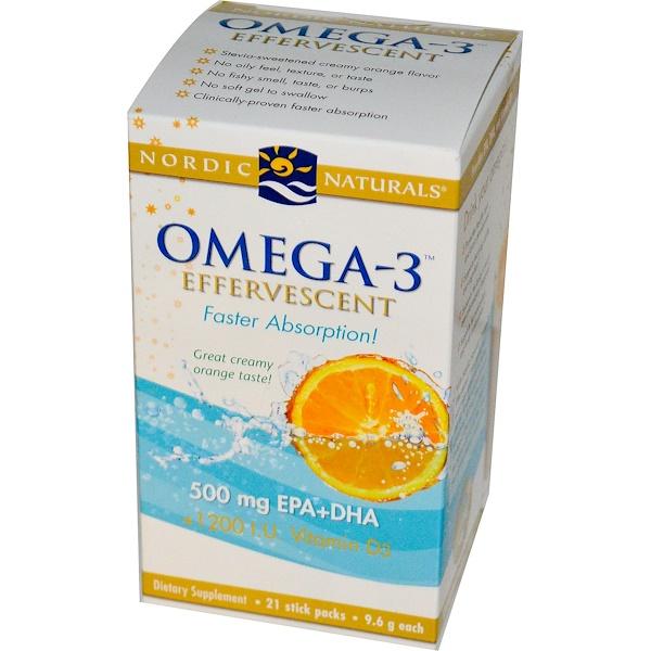Nordic Naturals, Omega-3 Effervescent, Orange Flavor, 21 Stick Packs, 9.6 g Each (Discontinued Item)