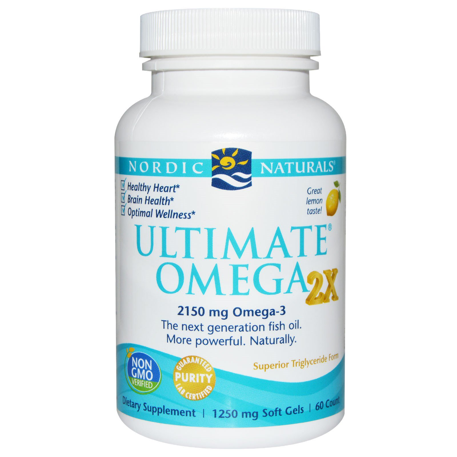 Nordic Naturals, Ultimate Omega 2x, Lemon, 60 Count