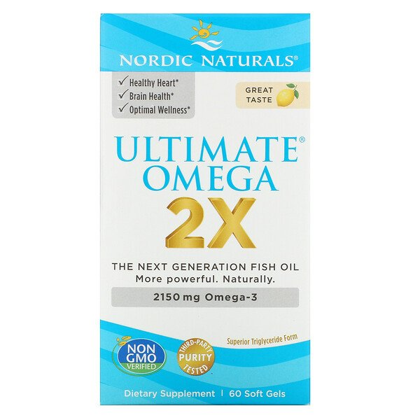 Ultimate Omega 2X, Lemon, 60 Softgels