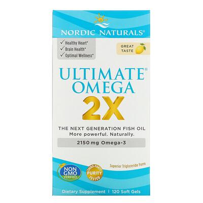 Купить Nordic Naturals Ultimate Omega 2X, со вкусом лимона, 2150мг, 120капсул