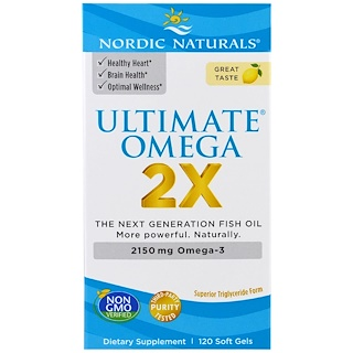 Nordic Naturals, Ultimate Omega 2X, 2150 мг, 120 капсул