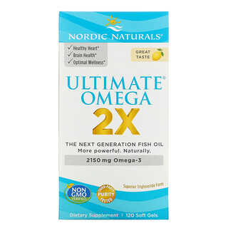 Nordic Naturals, Ultimate Omega 2X, Lemon, 2,150 mg, 120 Soft Gels