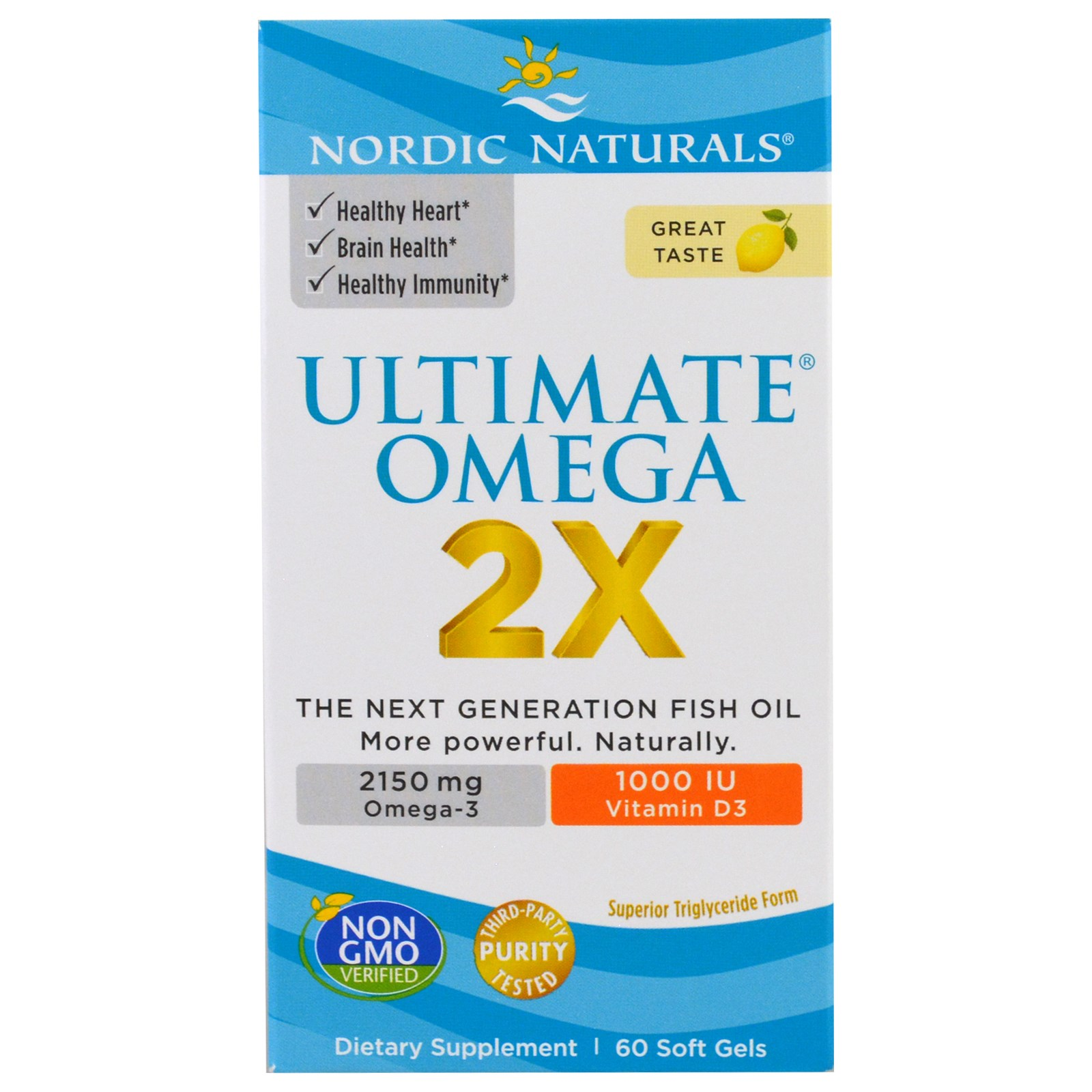 Nordic naturals ultimate omega 2x lemon 60 soft gels for Nordic naturals fish oil liquid