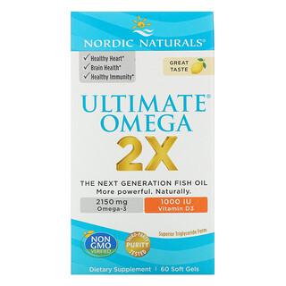 Nordic Naturals, Ultimate Omega 2X mit Vitamin D3, Zitrone, 60 Weichkapseln