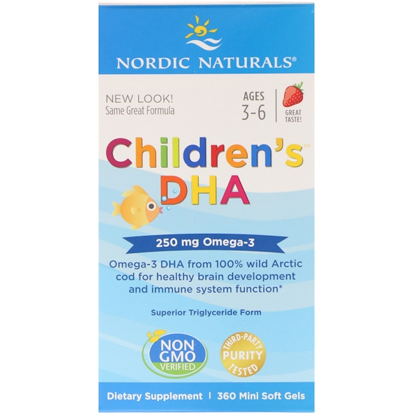 Nordic Naturals, Children's DHA, Strawberry, 360 Mini Soft Gels