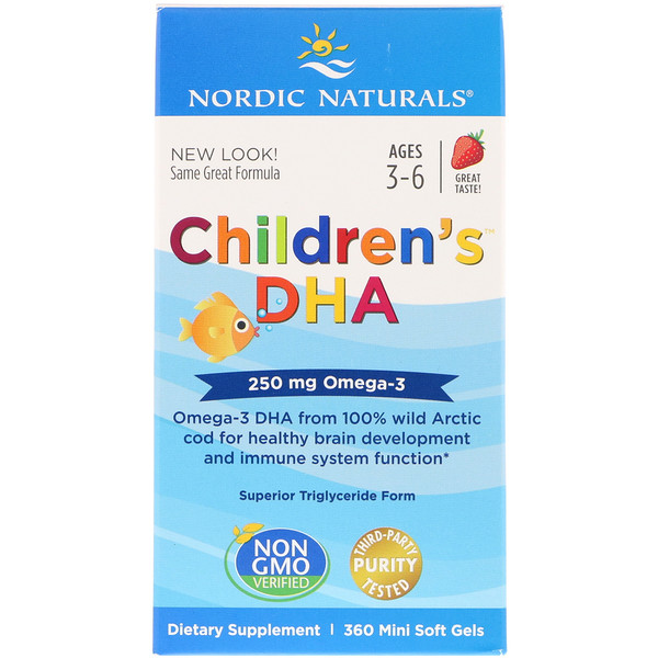Nordic Naturals, Children's DHA, Ages 3-6, Strawberry, 250 mg, 360 Mini Soft Gels