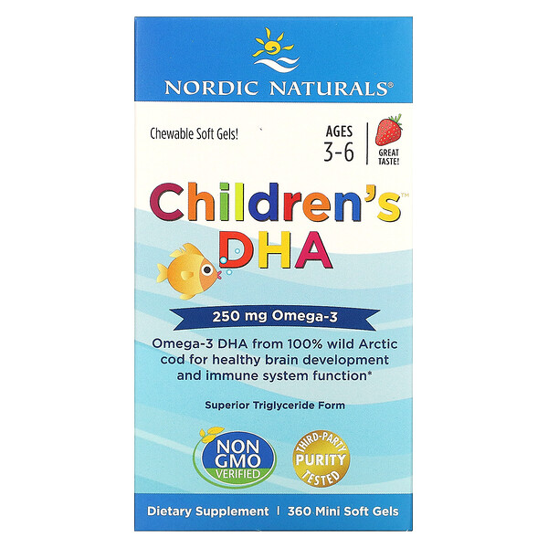 Children's DHA, Ages 3-6, Strawberry, 250 mg, 360 Mini Soft Gels