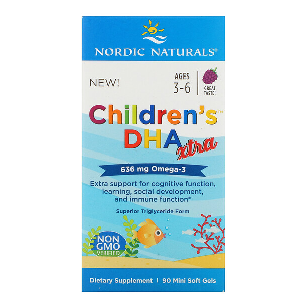 Children's DHA Xtra, Ages 3-6, Berry, 636 mg, 90 Mini Soft Gels
