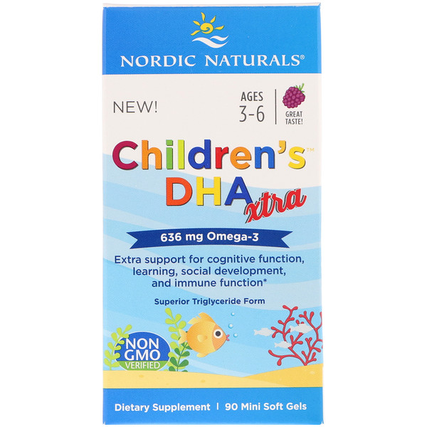 Children's DHA Xtra, Berry, Ages 3-6, 636 mg, 90 Mini Soft Gels