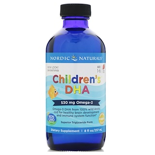 Nordic Naturals, Children's DHA, Strawberry, 530 mg, 8 fl oz (237 ml)