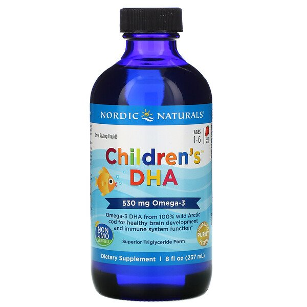 Children's DHA, Ages 1-6, Strawberry, 530 mg, 8 fl oz (237 ml)