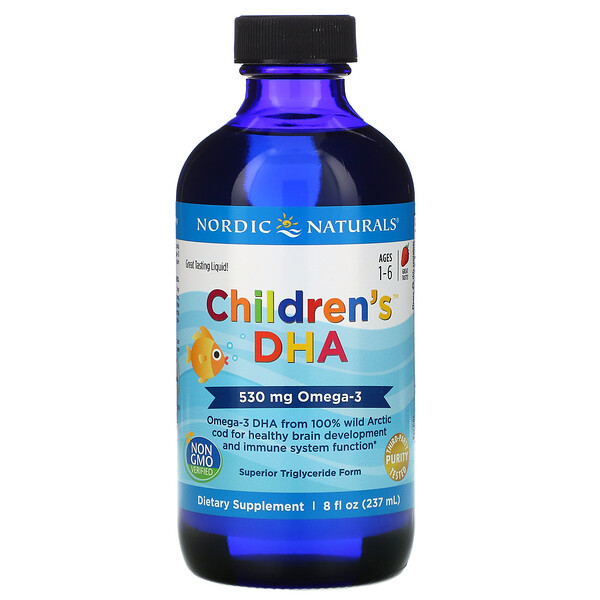 Nordic Naturals, Children's DHA, Ages 1-6, Strawberry, 530 mg, 8 fl oz (237 ml)