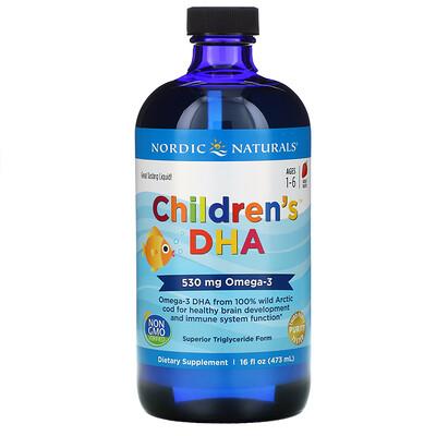 Купить Nordic Naturals Children's DHA, клубника, для детей в возрасте от 1 года до 6лет, 530мг, 473мл (16жидких унций)