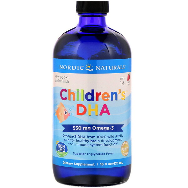 Children's DHA, Ages 1-6, Strawberry, 530 mg, 16 fl oz (473 ml)