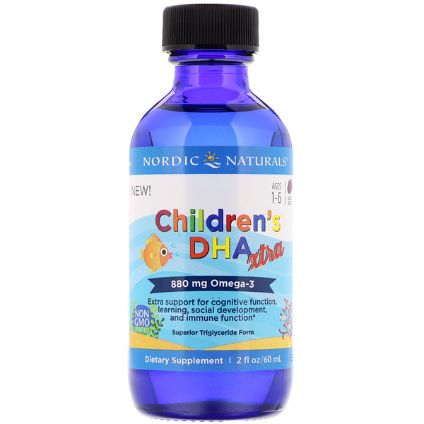 Children's DHA Xtra, Ages 1-6, Berry, 880 mg, 2 fl oz (60 ml)