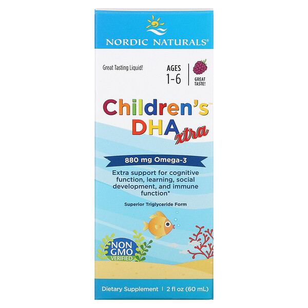 Nordic Naturals, Children's DHA Xtra, Ages 1-6, Berry Punch, 880 mg, 2 fl oz (60 ml)
