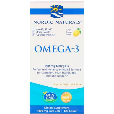 Купить Омега-3, лимон, 690 мг, 120 мягких желатиновых капсул
