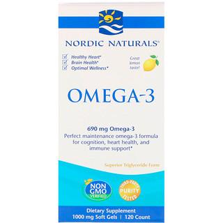 Nordic Naturals, Omega-3, Lemon, 690 mg, 120 Soft Gels